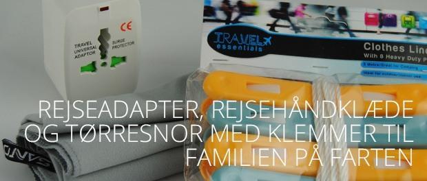 rejseadapter og rejsehåndklæde