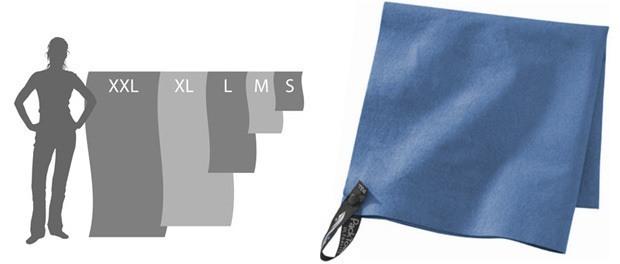 rejsehåndklæde i forskellige størrelser