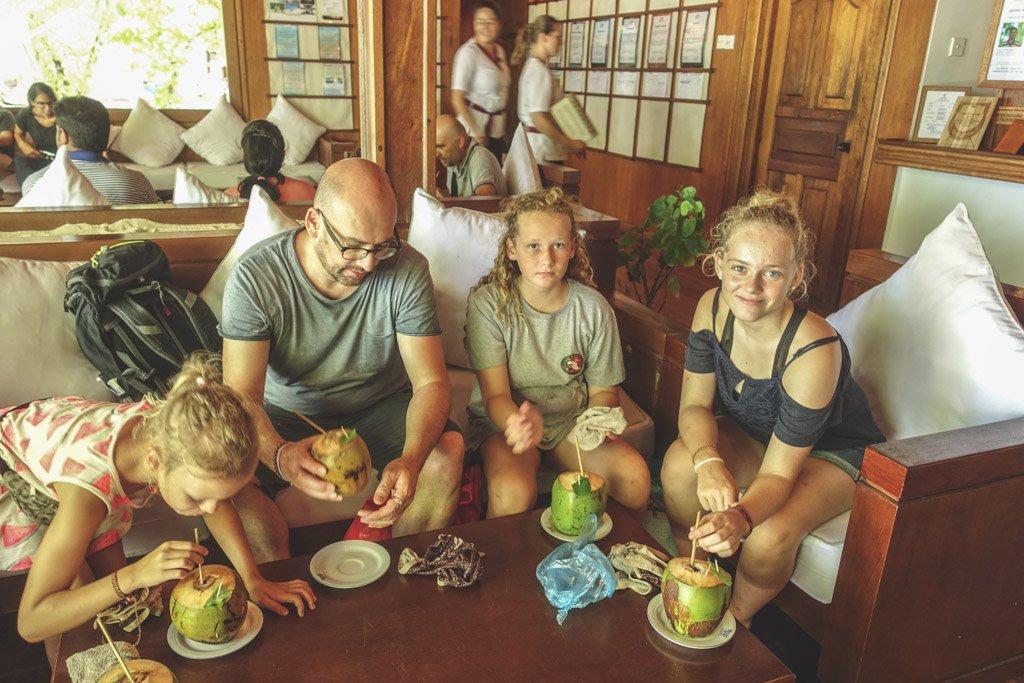 god velkomst på resortet på maldiverne med frisk kokosnød