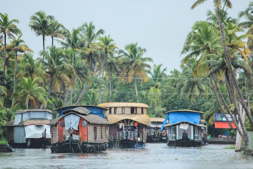 masser af smukke husbåde på floden ved alleppey