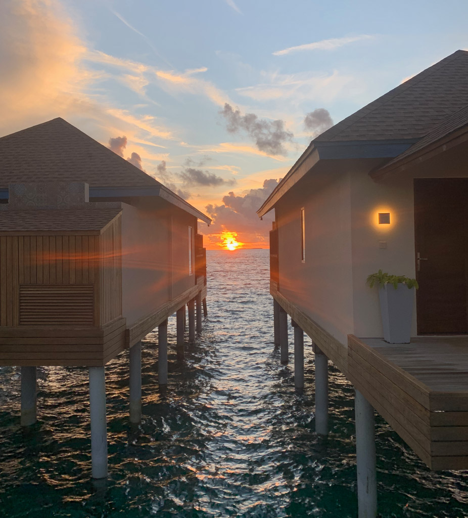 De smukkeste solnedgange findes på Maldiverne - her på Reethi Faru